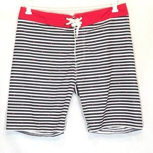 Old Navy L Large Board Shorts Blue White Striped